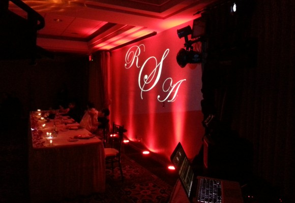 monogram with red lights
