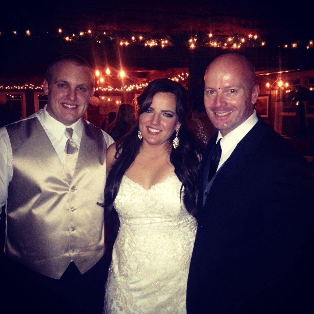 MY DJs Stephen Barth with bride and groom at Pine Hills Lodge Wedding