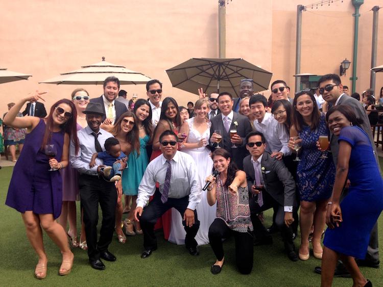 group wedding photo female dj